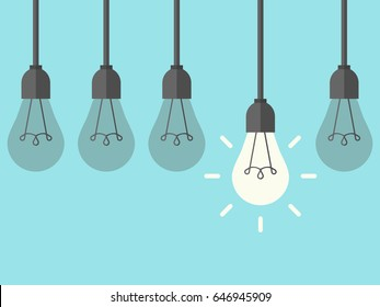 Row of five hanging lightbulbs with one burning on blue background. Inspiration, discovery, idea and insight concept. Flat design