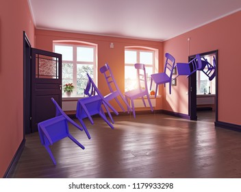 the row of the flying purple chairs in the room. 3d rendering interior concept