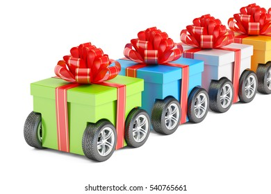 row from gift boxes on wheels, delivery concept. 3D rendering isolated on white background