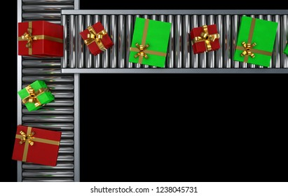 A row of gift boxes wrapped in metallic paper and gold ribbons on a production line conveyor - 3D render