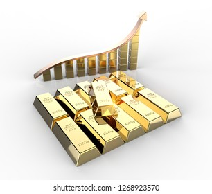 Row of gold bars with chart and rising arrow 3D illustration
