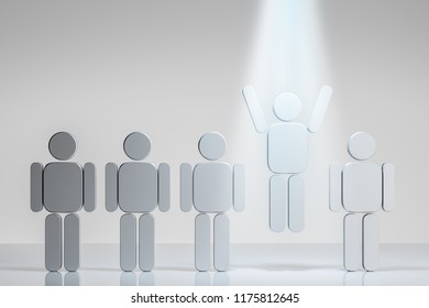Row of gray human figures. One jumping and waving hands in a I just won gesture in a ray of light. Concept of success, individuality and human relations. 3d rendering mock up
