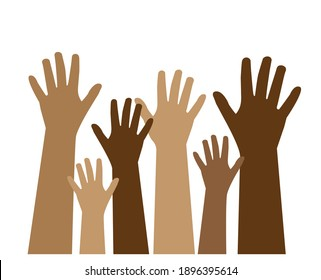 a row of human hands with different skin color