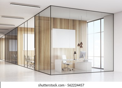 Row of meeting rooms with glass and wooden walls and computers on a white desk. 3d rendering. Mock up.