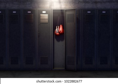 A row of metal gym lockers with one open door revealing that it has a pair of boxing gloves hanging up inside - 3D render
