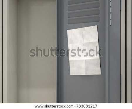 A Row Of Metal School Lockers With One Open Door And Blank Page Note Taped