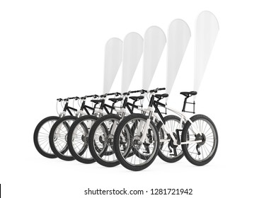 Row of Mountain Bicycles with Blank Banner Promotion Feather Flags on a white background. 3d Rendering