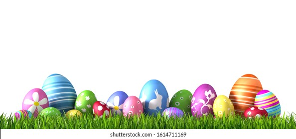 Row of painted colored easter eggs - 3D illustration