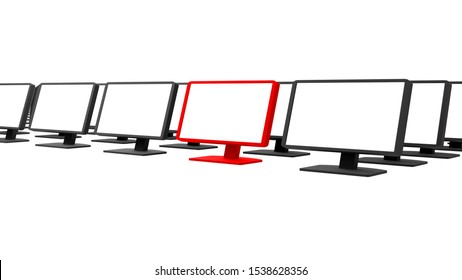 Row of pc monitors render, lots of rows of blank black pc screens isolated on white. One display red, pointed out. Graphical resources, customer service, one of a kind, one chosen from many concept