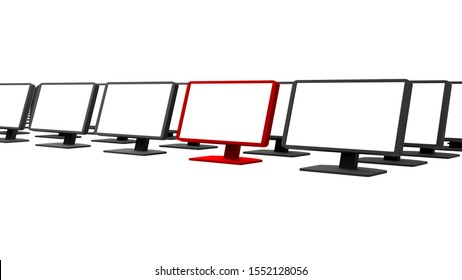 Row of pc monitors render, lots of rows of blank black pc screens isolated on white. One monitor, pointed out colored red. Graphical resources, customer service, one of a kind, one from many concept
