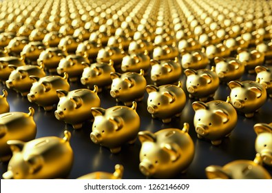 row of piggy banks, gold luxery concept image - 3D rendering