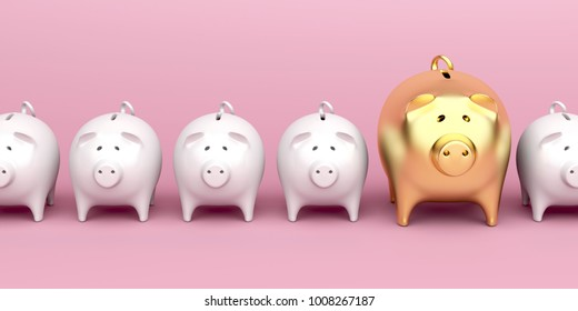 Row with piggy banks with one bigger and gold colored piggy bank, front view. 3D illustration