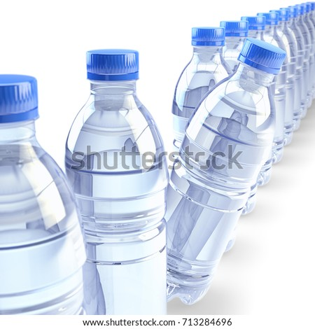 row plastic bottles clear drinking water stock illustration