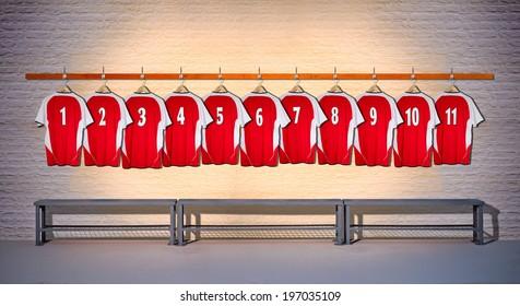 Row of Red Football Shirts Shirt 1-11