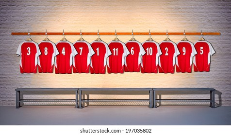 Row of Red Team Football Shirts