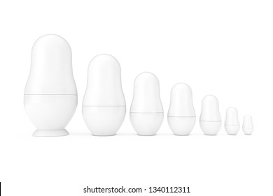 Row of Russian Blank White Matryoshka Nesting Dolls Mockups in Clay Style on a white background. 3d Rendering