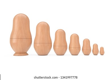 Row of Russian Wooden Blank Matryoshka Nesting Dolls Mockups on a white background. 3d Rendering
