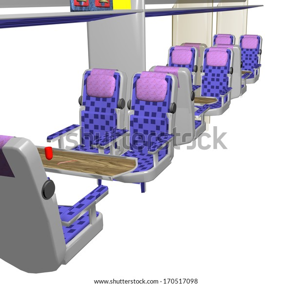 row of seats and tables in a train from the inside, over a white background