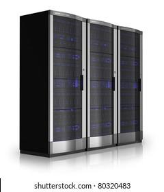 Row of server racks isolated on white reflective background