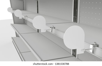 Row Of Shelf-Stoppers  Or Wobblers Attached To Shelf. 3D rendering
