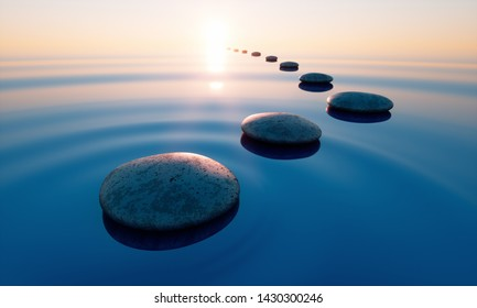 Row of stones in calm water in the wide ocean - concept of meditation - 3D illustration