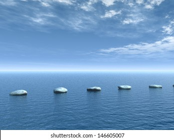 row of stones on water - 3d illustration