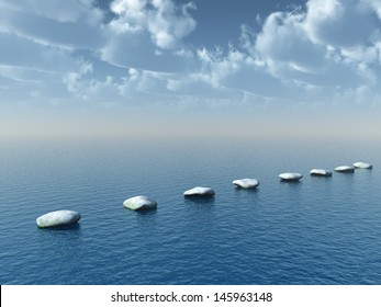 row of stones at water - 3d illustration