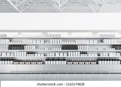 Row of store shelves with mock up bottles and boxes. Concept of marketing, consumption and product placement. 3d rendering mock up