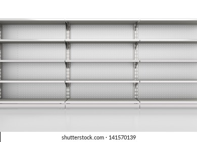 row of supermarket shelves render from front on white. 3d