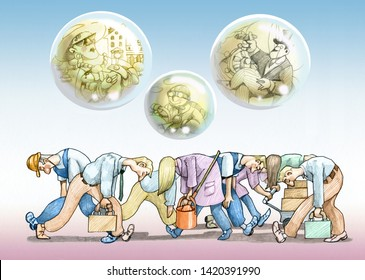 row of tired workers walk bent above them bubbles of soap with a few rich far from reality metaphor of social injustice