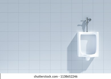 A Row of Urinals in Tiled Wall in a Public Toilet-3D Rendering
