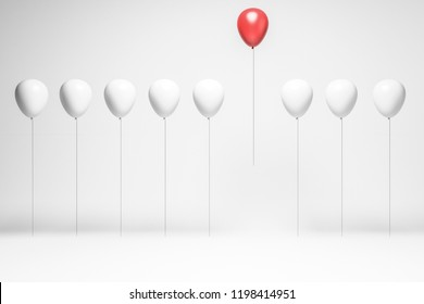Row of white balloons with a pink balloon flying above them. Concept of choice and being unique. 3d rendering copy space