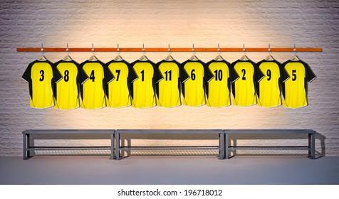 Row of Yellow Football Shirts 1-11