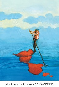 rower on gondola done shape of mouth, projects on the water reflected to form of heart surrealism painting allegory of love ideal symbol of a kiss