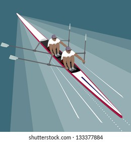 Rowing Teamwork Sport. Rowers speeding towards their goal and success through cooperation, strength and fitness.
