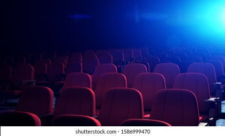 Rows Of Comfortable Red Chairs In Dark Cinema Theater. Empty Cinema Seats in Theatre for Movies. 3D Rendering.