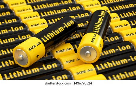 Rows of generic AA batteries with the label 'Lithium Ion' - 3D Rendering
