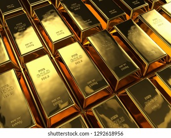 rows of gold bars, 3d illustration