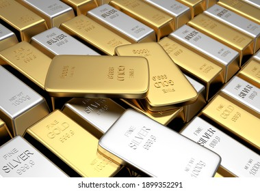 Rows of gold and silver bars with several thin bars. 3d illustration