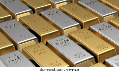 Rows of gold and silver bars stacked as a background. 3D illustration