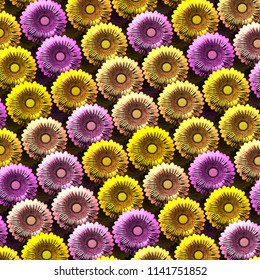 Rows of pink and golden sunflowers. 3d illustration