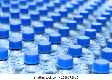 Rows of plastic bottles of clear purified drink carbonated water with blue caps. 3D illustration