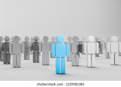 Rows of white and gray people figures with blue figure in the center. Concept of leadership in business and life. 3d rendering