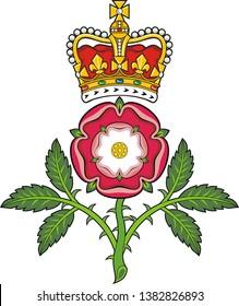 Royal badge of England.Heraldic Tudor rose and S.Edward's Crown