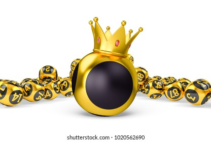 Royal bingo or lottery without numbers blank balls. Gold Bingo balls on white isolated background. Golden balls. Concept 3d illustration.
