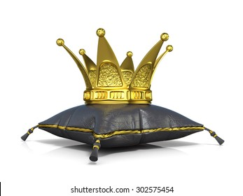 Royal black leather pillow and golden crown. 3D render illustration isolated on white background