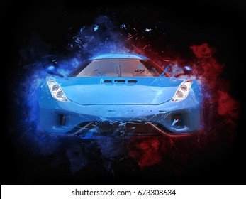 Royal blue supercar - particle color splash illustration - 3D Illustration