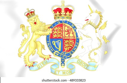 Royal Coat of Arms of United Kingdom. 3D Illustration.