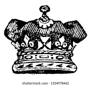 Royal Duke Coronet is a coronet never has arches, vintage line drawing or engraving illustration.
