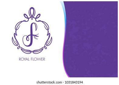 Royal Flower  Logo Template.  Corporate Business card.  Monogram design elements, Royal Flower on a purple background. Calligraphic elegant line art logo design. Element for design business cards.
